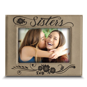 Sisters Picture Frame- Gift for Sister-Engraved Leather Picture Frame
