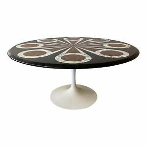 Custom Designed Marble Inlay Knoll Saarinen Dining Table