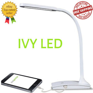 TW Lighting IVY-40WT The IVY LED Desk Lamp with USB Port, 3-Way Touch Switch