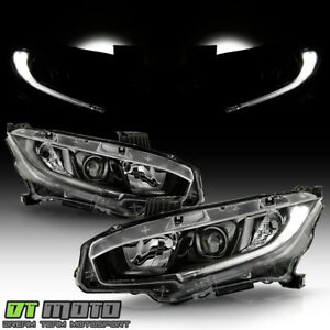 For 2016 2020 Honda Civic Black Halogen Projector Headlights Headlamps Pair Set