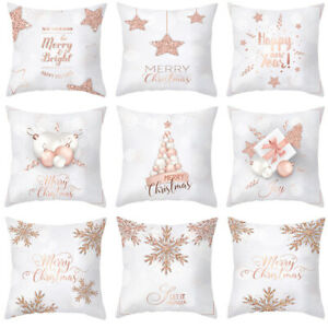 18x18quot; Christmas Pillow Case Rose Gold Cushion Cover Home Decoration Covers