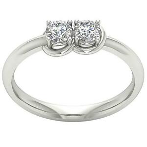 Forever Us Two Stone Ring SI1 G 0.55Ct Natural Round Diamond 14K Gold 6.00MM $579.99