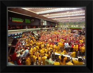 Business executives on trading floor Black Framed Wall Art Print United States