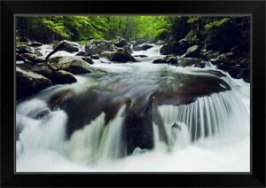 Curved Cascade On The Middle Prong River Great Smoky Mountains Tennessee Black