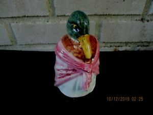 Adorable Antique Majolica Tobacco Jar Duck Wearing Shawl