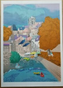 Georges LAMBERT Original Lithograph Village en Automn Signed EA Proof