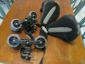 2 MAKO YAKIMA KAYAK HULLY ROLLERS & SADDLES WITH ROUND BAR MOUNTS VERY NICE SEE