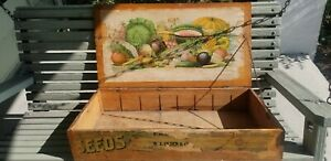ANTIQUE N.J. OLSEN SEED CO SEED ADVERTISING WOOD BOX OLD LITHOGRAPHS