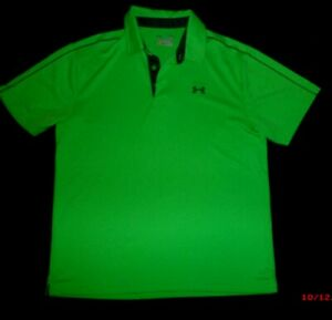MEN'S UNDER ARMOUR BRIGHT GREEN POLO SHIRT~SIZE  LARGE