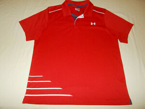 UNDER ARMOUR HEAT GEAR SHORT SLEEVE RED FITTED POLO SHIRT MENS LARGE EXCELLENT