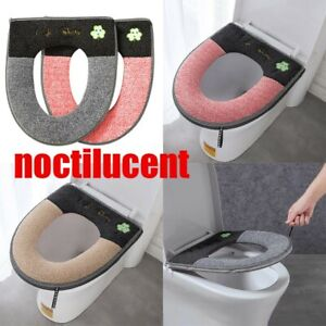 Noctilucent Bathroom Toilet Seat Closestool Washable Soft Warmer Mat Cover Pad