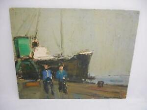Antique ORIGINAL OIL PAINTING on WOOD SEASCAPE Picture ARTIST SIGNED Hanging Old