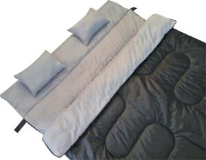 Black Double Sleep Bag W 2 Pillows Full Size Water Proof Outdoor Camping Gear