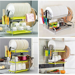 2 Tier 3 Tier Chrome Dish Cup Drainer Kitchen Drip Tray Stainless Steel USA