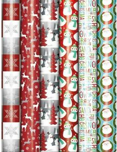 Bundle of 6 Rolls of Christmas Holiday Foil Gift Wrapping Paper Traditional...