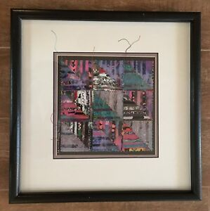 Fabric Mixed Media Collage quilting square Irene Maginniss art quilt patchwork $58.22