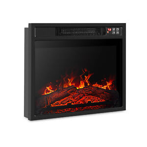 18quot;Embedded Electric Fireplace Insert Remote Heater Adjustable Flame 1400W Black