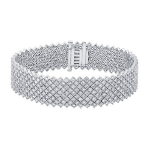 Womens Round Diamond Bracelet 18K White Gold 12.54 CT Wide Fancy Natural