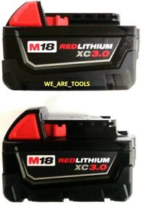 (2) GENUINE 18V Milwaukee 48-11-1828 3.0 AH Batteries M18 XC Red Lithium 18 Volt