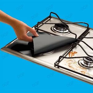 4x Gas Hob Protector Liners: Reusable Non-Stick Silicone Dishwasher Safe - Black