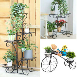 Metal Outdoor Indoor Pot Plant Stand Garden Decor Flower Rack Wrought Iron Black $37.91