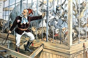 Harrison MONKEY ANIMAL TRAINER 1889 MENAGERIE MONARCH Happy Family in Zoo Cage $125.00