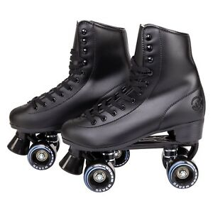 C7skates Soft Faux Leather Roller Skates Classic Ebony Black Great Gift