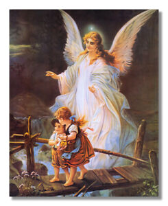 Guardian Christian Angel on Bridge Children Wall Picture Art Print 16x20