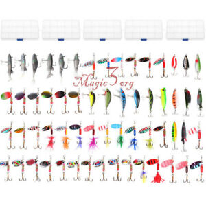 Mixed Lot  Fishing Lures Spinners Kits Spoon Soft Hard Swim Crankbait Bass Trout