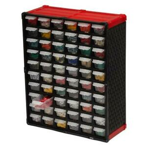 60 Compartment Small Parts Organizer Red Drawer Storage Wall Mount Toys Home