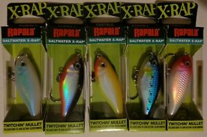 Lot of 5 New & Different Rapala X-Rap Twitchin' Mullet SXRTM-6 Fishing Lures #1