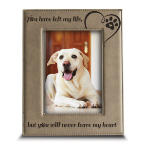Loss of Dog or Cat Memorial Gifts Engraved Leather Picture Frame