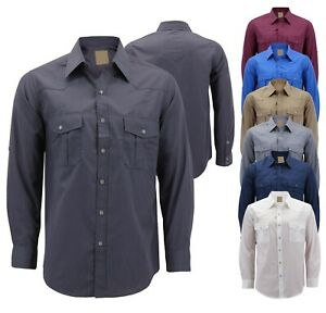 Mens Casual Western Pearl Snap Button Down Long Sleeve Cowboy Dress Shirt