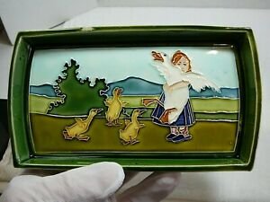 Majolica Pottery Tray Dish Girl with Ducks Vintage Antique