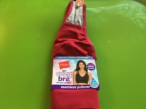 Hanes Womens Get cozy bra All day comfort Wirefree Seamless pullover large Red