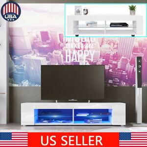 134cm High Gloss TV Stand Cabinet Console Furniture Table LED Shelve 4 Shelves