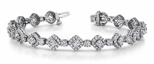 7.21ctw Halo Style Princess Cut Diamond Designer Tennis Bracelet-14K Gold