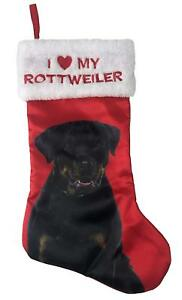 I Love My Rottweiler Satin Pet Christmas Stocking Holiday Time