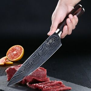 Damascus Pattern 8 inch Chef's Knife Stainless Steel Kitchen Knife Cut