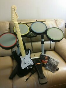 PS3 Rock Band Bundle Set Drums Mic Guitar Game Dongle COMPLETE PS2 PS4 Tested