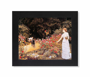 Lady Picking Flowers in Garden with Her Dogs Wall Picture Black Framed