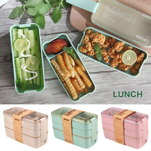 Lunch Boxes Wheat Straw Bento Boxes Microwave 3 Layer Food Storage Container New