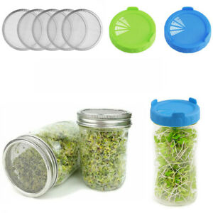 5 Steel/Plastic Seed Sprouting Lid Mesh Screen Strainer Filter For Mason Jar 3