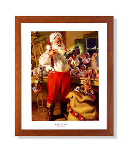 Old St Nick Santa Clause Christmas #3 Wall Picture Honey Framed Art Print $59.97