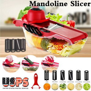 Manual Vegetable Slicer Potato Fruit Cutter Stainless Steel Mandoline Kitchen US
