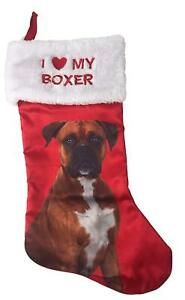 I Love My Boxer Satin Pet Christmas Stocking Holiday Time