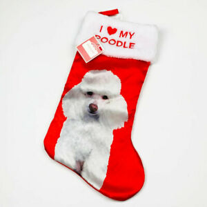 I Love My White Poodle Satin Pet Christmas Stocking Holiday Time