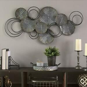 Abstract Wall Art Decor Sculpture Country Large Metal Plates Rustic Distressed $52.30
