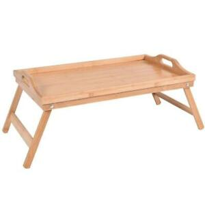 New Bamboo Breakfast Bed Tray Serving Laptop Table Folding Leg w Portable Handle