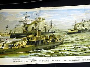 Great Britain SHIPS of the ROYAL NAVY 1886 HUGE Very Fine CHROMOLITHOGRAPH Print